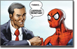 Pictured: Obama welcomes The Bat...er, Spidey.