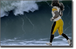 Pictured: Polamalu bravely runs into the tsunami.